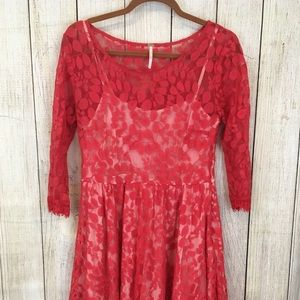 Free People Red Floral Lace Dress Size 8